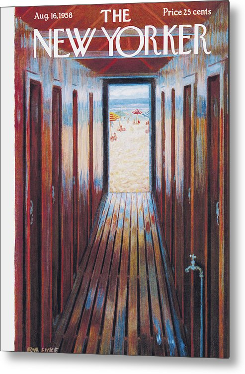 Beach Metal Print featuring the painting New Yorker August 16th, 1958 by Edna Eicke