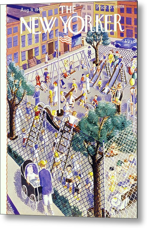 Children Metal Print featuring the painting New Yorker August 31 1940 by Ilonka Karasz