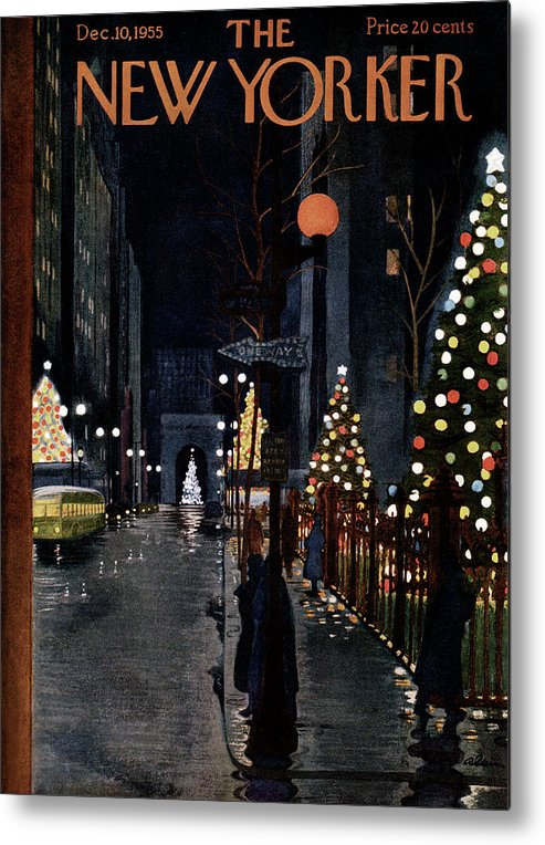 Urban Metal Print featuring the painting New Yorker December 10th, 1955 by Alain