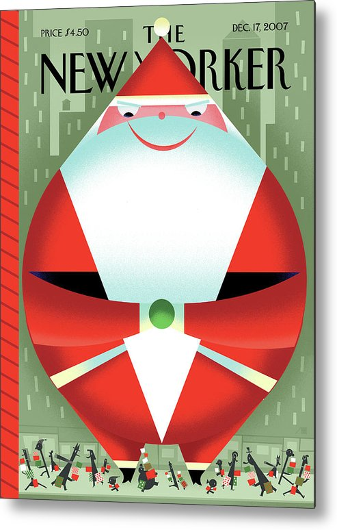 Santa Claus Metal Print featuring the painting New Yorker December 17th, 2007 by Bob Staake