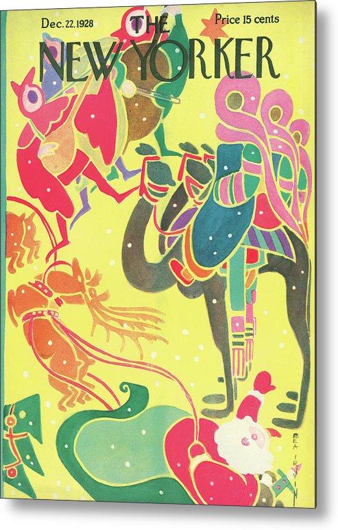 Christmas Xmas X-mas Santa Claus St. Nick Saint Nicholas Camel Camels Wise Men Reindeer Rea Irvin Rir Rea Irvin Rir Artkey 48162 Metal Print featuring the painting New Yorker December 22nd, 1928 by Rea Irvin