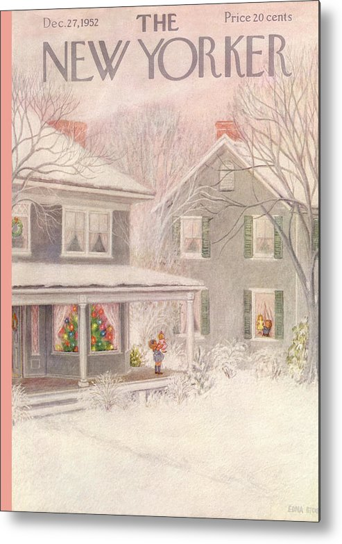 Suburb Metal Print featuring the painting New Yorker December 27th, 1952 by Edna Eicke