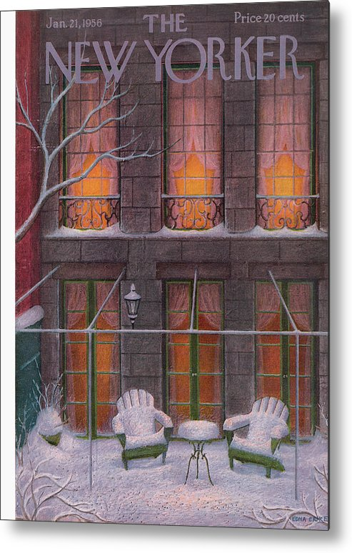 Snow Metal Print featuring the painting New Yorker January 21st, 1956 by Edna Eicke