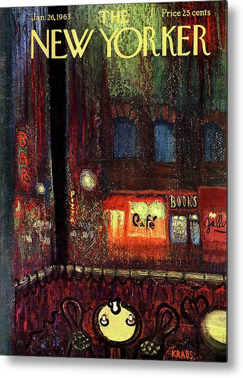Urban Metal Print featuring the painting New Yorker January 26th, 1963 by Robert Kraus