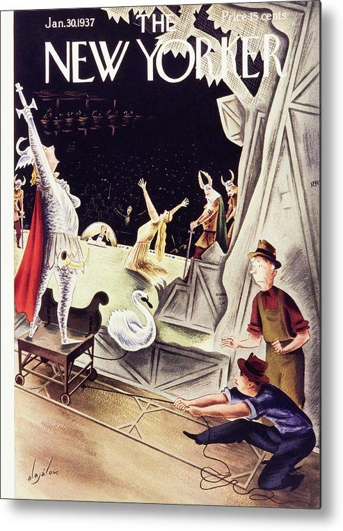 Theater Metal Print featuring the painting New Yorker January 30 1937 by Constantin Alajalov