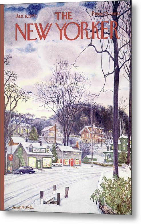 Suburban Metal Print featuring the painting New Yorker January 9th, 1965 by Albert Hubbell