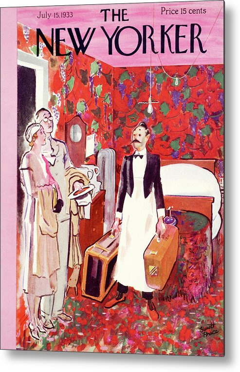 Hotel Metal Print featuring the painting New Yorker July 15th, 1933 by Garrett Price