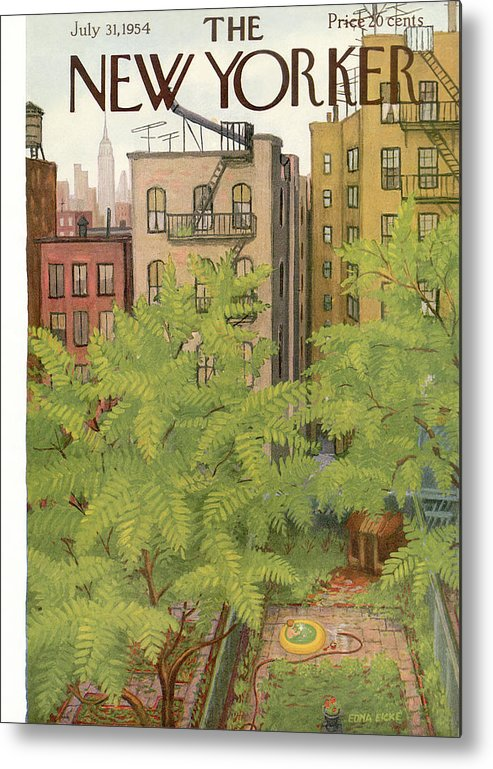 Urban Metal Print featuring the painting New Yorker July 31st, 1954 by Edna Eicke