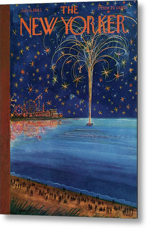 July Fourth Metal Print featuring the painting New Yorker July 6th, 1963 by Anatol Kovarsky