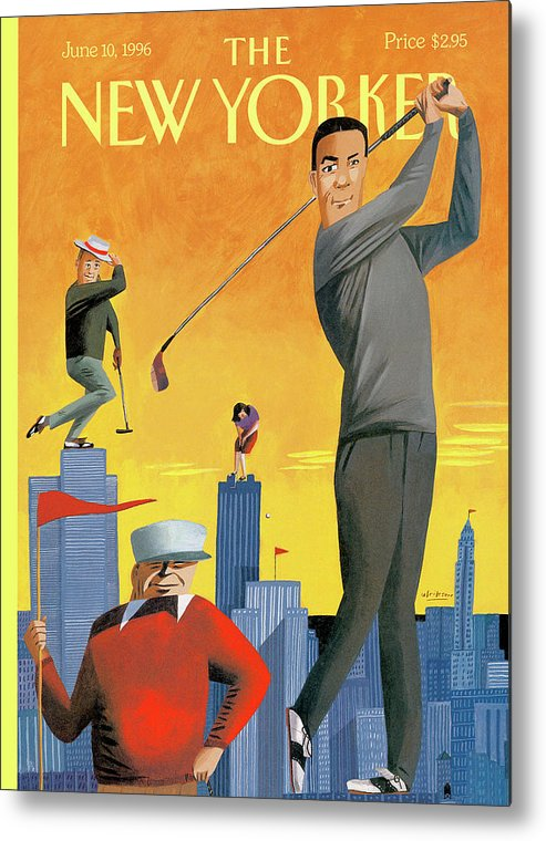 Tee Time Metal Print featuring the painting New Yorker June 10th, 1996 by Mark Ulriksen