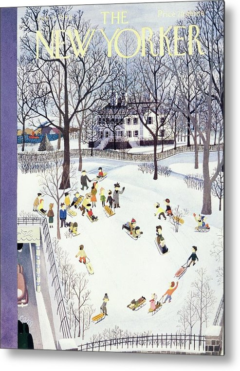 Illustration Metal Print featuring the painting New Yorker January 31, 1948 by Charles E Martin