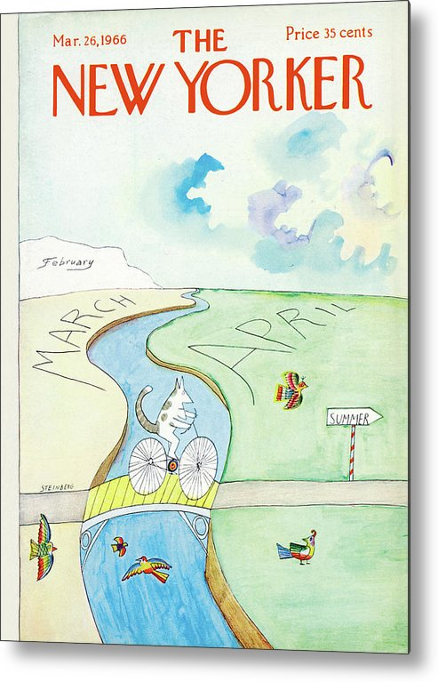 Saul Steinberg 49891 Steinbergattny (a Cat Bicycles Over A Bridge Which Crosses From March Into April.) Animals Animal Summer Birds Sport Sports Road Seasons Winter Spring Cat Bicycle Bike Cycling Riding Cats Feline Bird Birds   Bodinthurs  Artkey Metal Print featuring the painting New Yorker March 26th, 1966 by Saul Steinberg