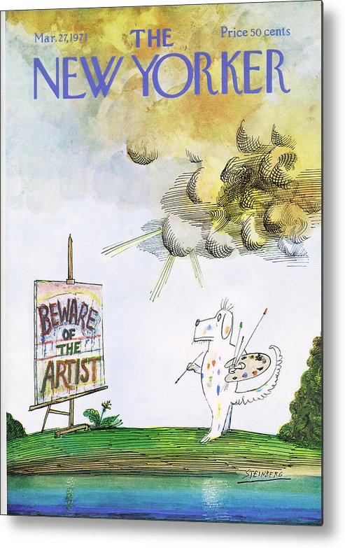 Saul Steinberg 50102 Steinbergattny Metal Print featuring the painting New Yorker March 27th, 1971 by Saul Steinberg