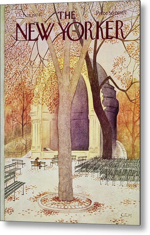 Illustration Metal Print featuring the painting New Yorker October 28th 1974 by Charles Martin