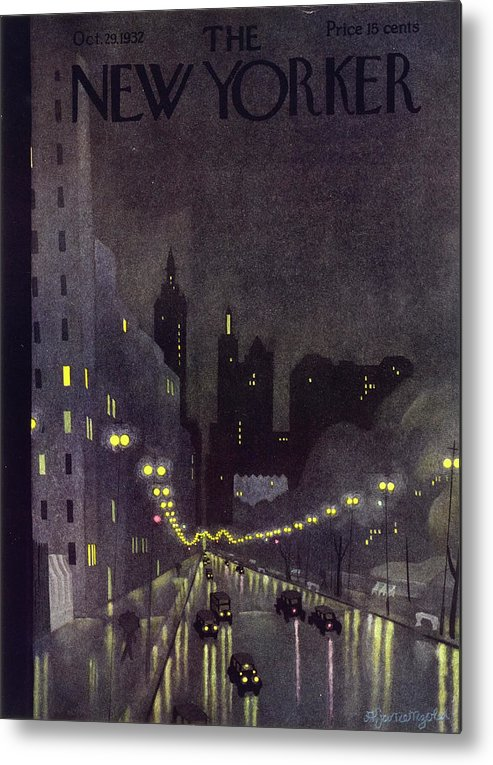 Illustration Metal Print featuring the painting New Yorker October 29 1932 by Arthur K Kronengold