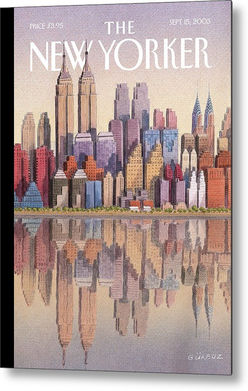 Twin Towers New York City Regional Empire State Building World Trade Center Twintowers Wtc Gek Gurbuz Dogan Eksioglu   Metal Print featuring the painting New Yorker September 15th, 2003 by Gurbuz Dogan Eksioglu
