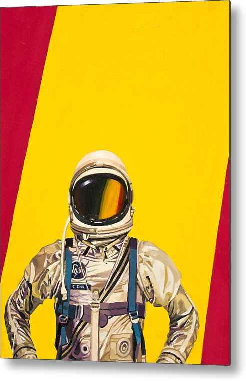 Astronaut Metal Print featuring the painting One Golden Arch by Scott Listfield