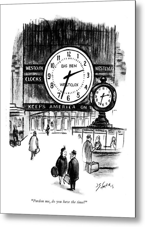 Lady To Man In Grand Central Station Metal Print featuring the drawing Pardon Me, Do You Have The Time? by Joseph Farris