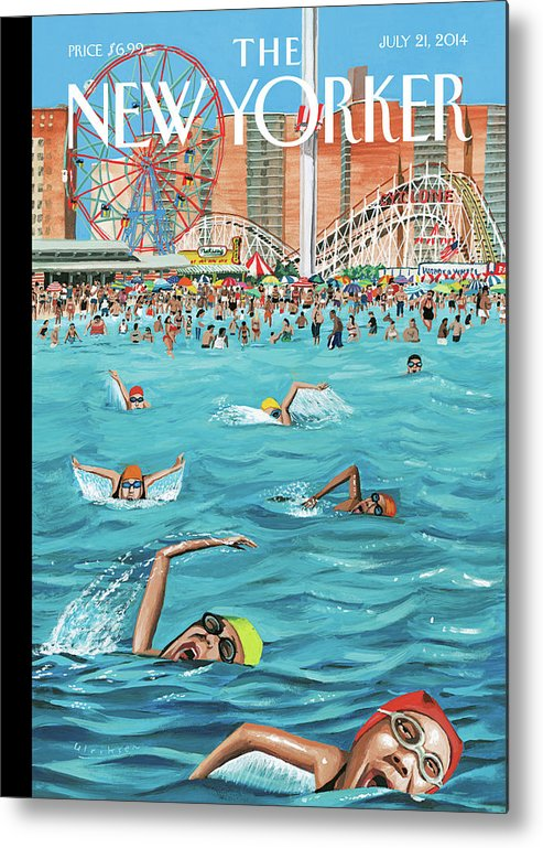 Beach Metal Print featuring the painting Coney Island by Mark Ulriksen