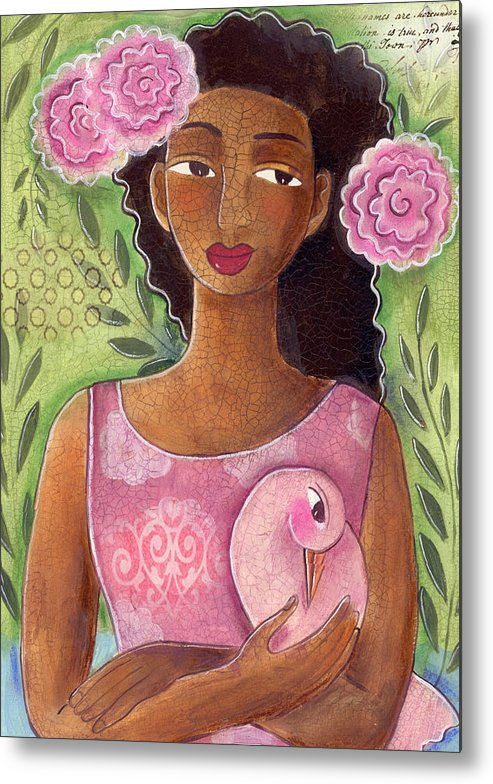 African American Metal Print featuring the painting Pink Bird by Elaine Jackson