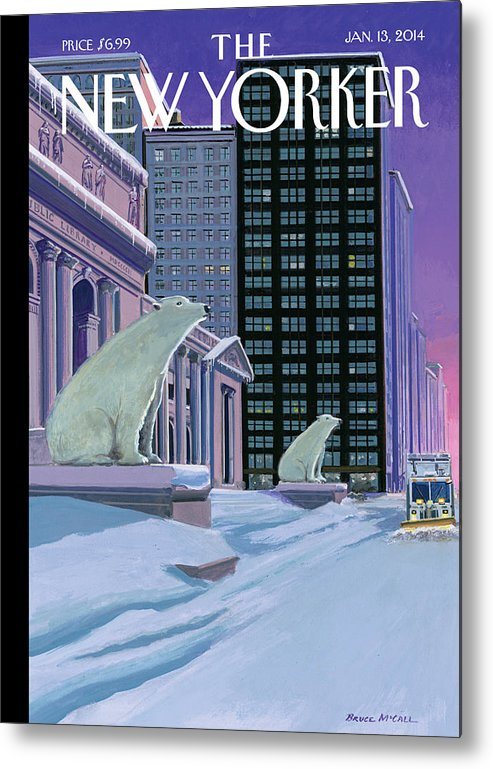 Polar Bears Sit Outside The New York Public Library On Fifth Avenue Metal Print featuring the painting Polar Bears On Fifth Avenue by Bruce McCall
