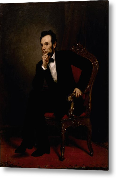 Abraham Lincoln Metal Print featuring the painting President Lincoln by War Is Hell Store