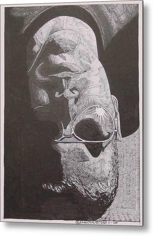Portraiture Metal Print featuring the drawing Reflection by Denis Gloudeman