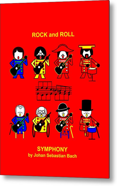 Roch And Roll Symphony By Johan Sebastian Bach Metal Print featuring the digital art Roch and Roll Symphony by Johan Sebastian Bach by Asbjorn Lonvig