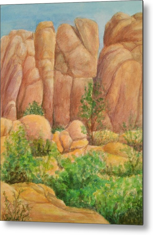Landscape Metal Print featuring the painting Rocks at the Granite Dells by Phyllis Tarlow