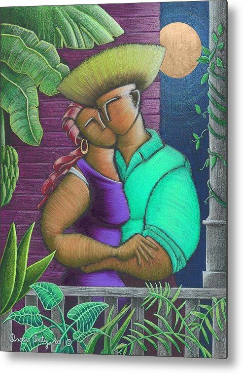 Puerto Rico Metal Print featuring the painting Romance Jibaro by Oscar Ortiz