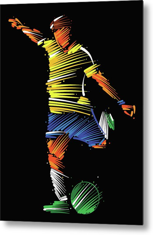 Goal Metal Print featuring the digital art Soccer Player Running To Kick The Ball by Dimitrius Ramos