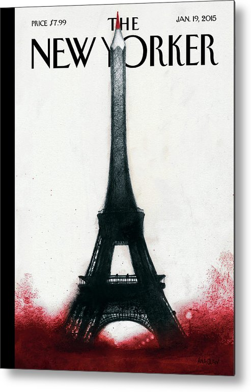 Charlie Hebdo Metal Print featuring the painting Solidarite by Ana Juan