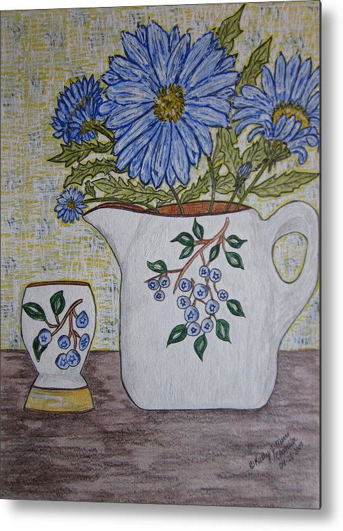 Stangl Blueberry Pottery Metal Print featuring the painting Stangl Blueberry Pottery by Kathy Marrs Chandler