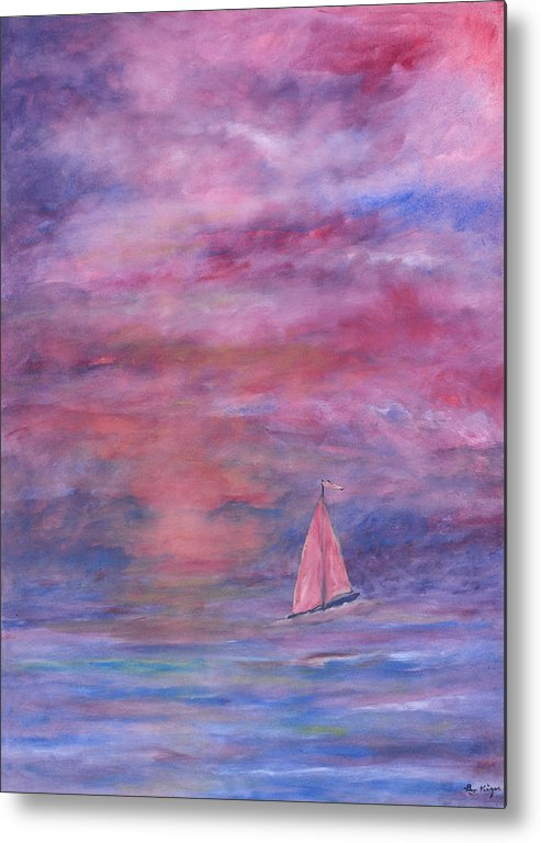 Saling Metal Print featuring the painting Sunset Adventure by Ben Kiger