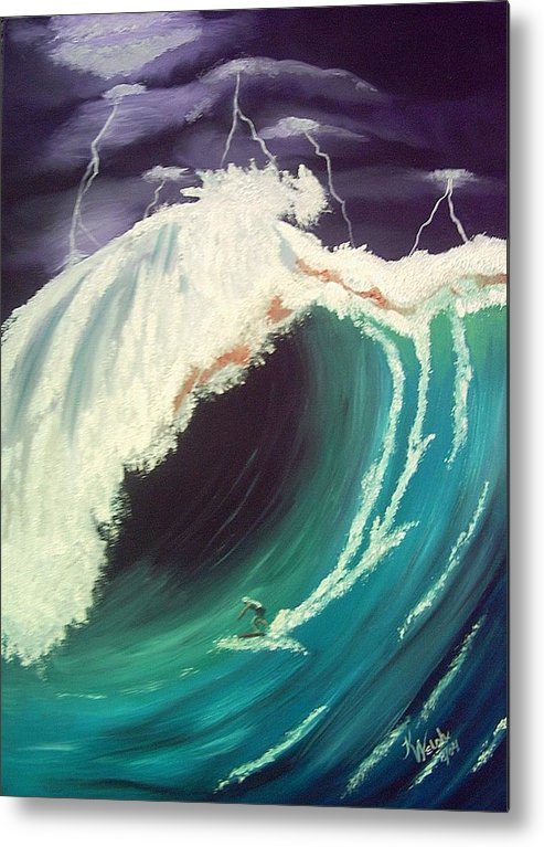 Waves Metal Print featuring the painting Surfing Dare Devil by Kathern Welsh