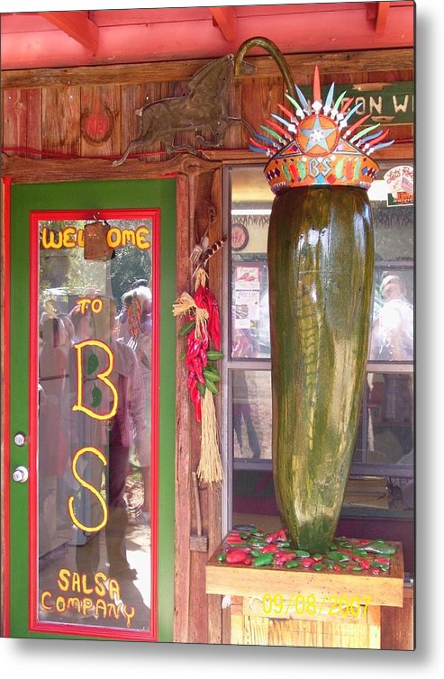 Business Metal Print featuring the sculpture Texas Size Chili Pepper by Michael Pasko