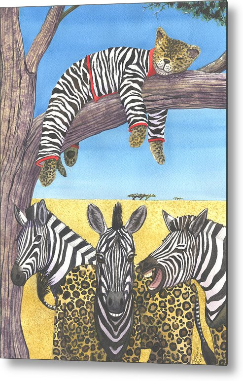 Zebra Metal Print featuring the painting The Crossdressers by Catherine G McElroy