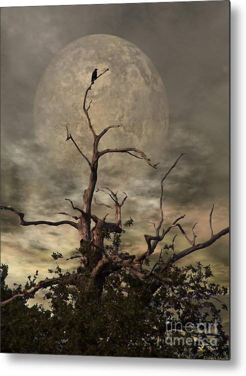 Crow Metal Print featuring the digital art The Crow Tree by Abbie Shores