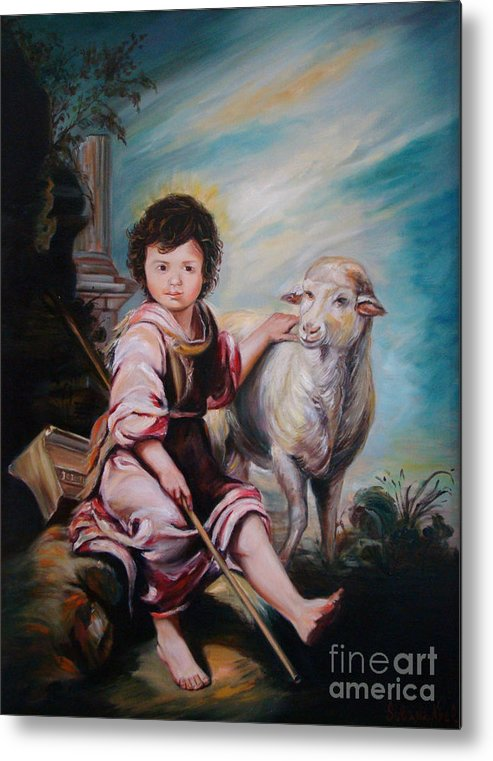 Classic Art Metal Print featuring the painting The Good Shepherd by Silvana Abel