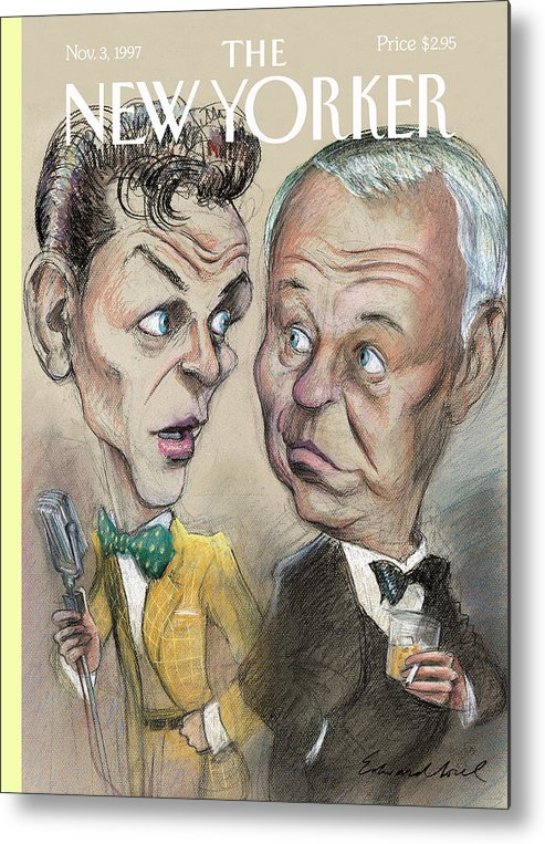 Strangers In The Night Artkey 50922 Eso Edward Sorel Metal Print featuring the painting The Young Frank Sinatra Looking At The Old Frank by Edward Sorel