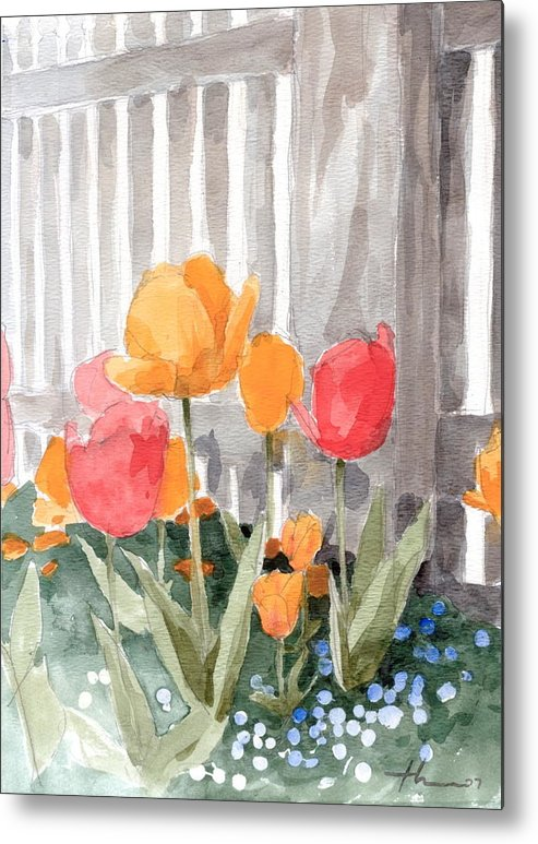 <a Href=http://miketheuer.com Target =_blank>www.miketheuer.com</a> Metal Print featuring the painting Tulips From Williamsburg Watercolor Painting by Mike Theuer