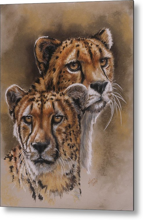 Cheetah Metal Print featuring the pastel Twins by Barbara Keith