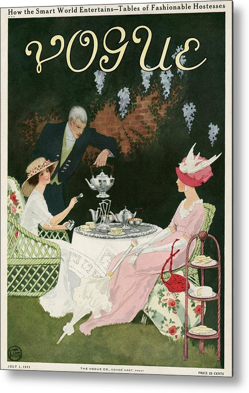 Illustration Metal Print featuring the photograph Two Women Drinking Tea by Mrs. Newell Tilton