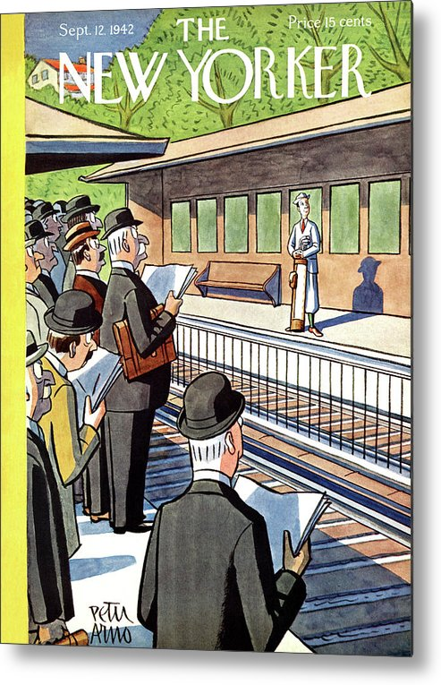 Train Metal Print featuring the painting New Yorker September 12, 1942 by Peter Arno