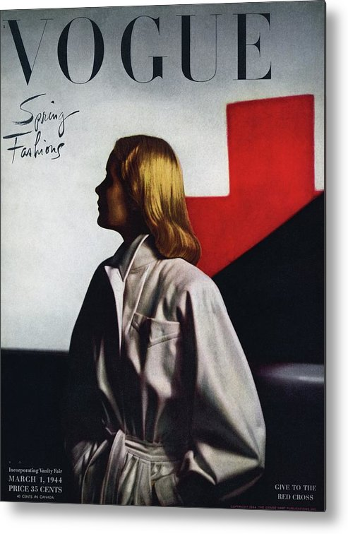 Fashion Metal Print featuring the photograph Vogue Cover Featuring A Model Wearing A White by Horst P. Horst