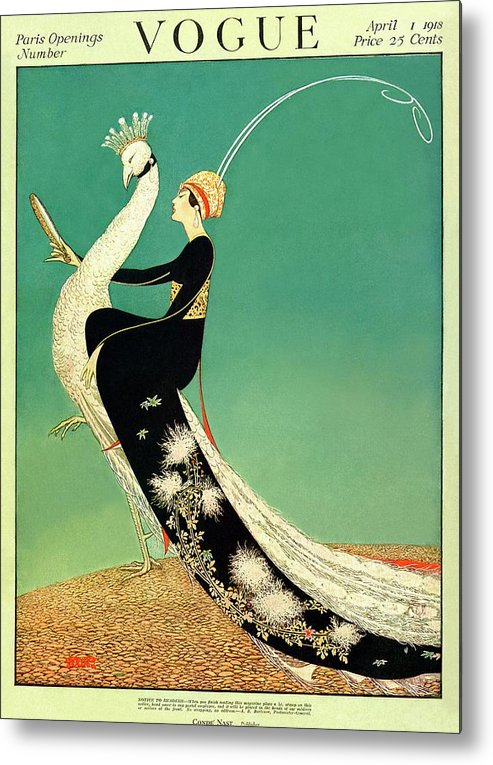 Illustration Metal Print featuring the photograph Vogue Cover Featuring A Woman Sitting On A Giant by George Wolfe Plank