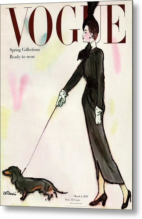 Fashion Metal Print featuring the photograph Vogue Cover Featuring A Woman Walking A Dog by Rene R. Bouche