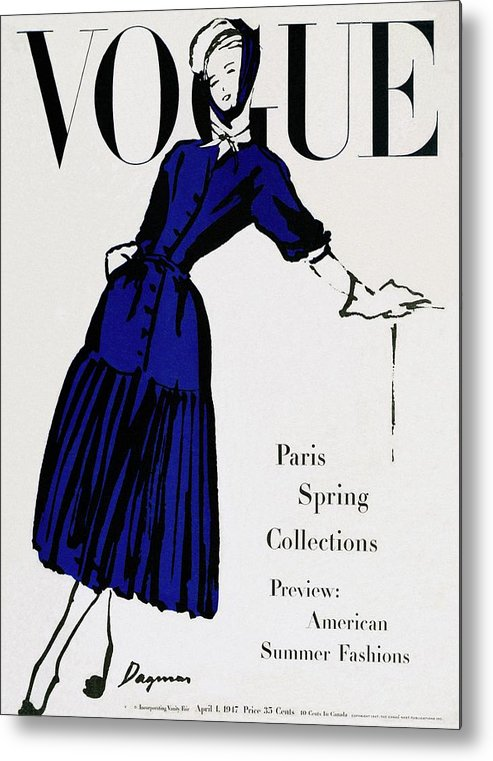 Illustration Metal Print featuring the photograph Vogue Cover Illustration Of A Woman Wearing Blue by Dagmar