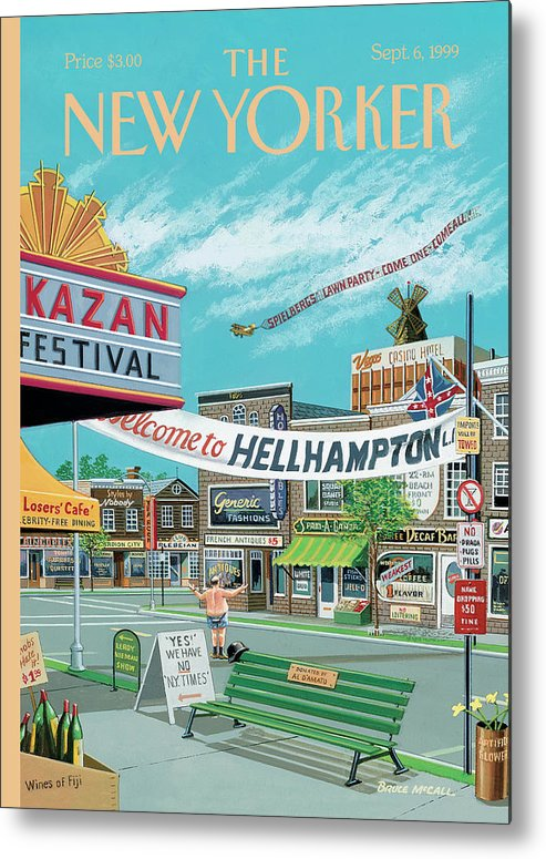 Hamptons Metal Print featuring the painting Welcome To Hellhampton by Bruce McCall