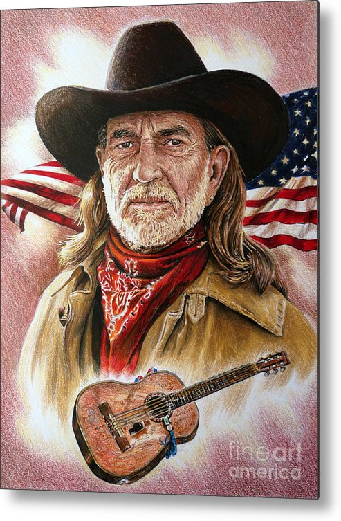 Willie Nelson Metal Print featuring the painting Willie Nelson American Legend by Andrew Read